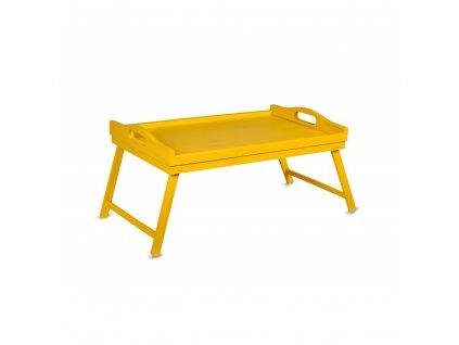 Dřevěný rozkládací tác - žlutý