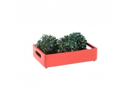 Dřevěná bedýnka 30x20x7 cm - červená