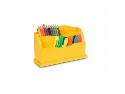 Dřevěný organizér 27x8x16,5 cm - žlutý