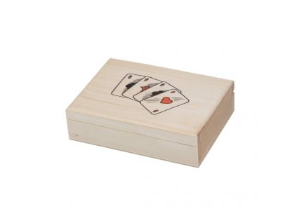 Dřevěná krabička na karty s potiskem
