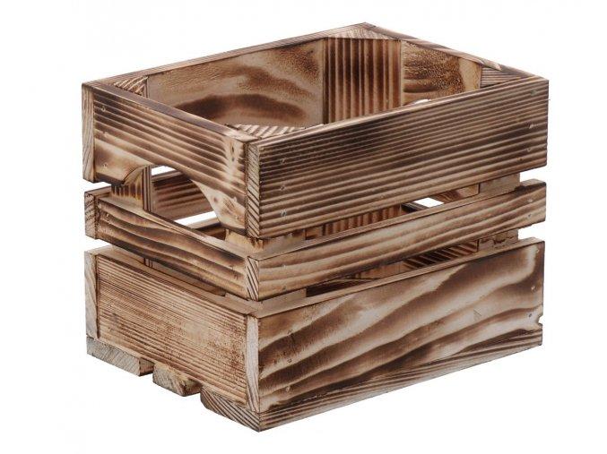 Opálená dřevěná bedýnka 20 x 15 x 15 cm