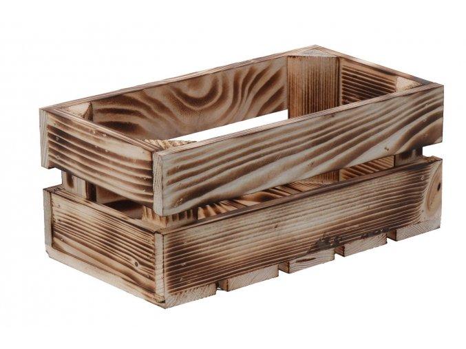 Opálená dřevěná bedýnka 28x15x12 cm