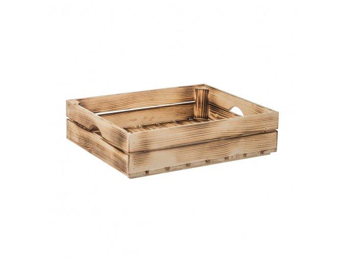 Opálená dřevěná bedýnka 50 x 39 x 12 cm (protiskluzová)