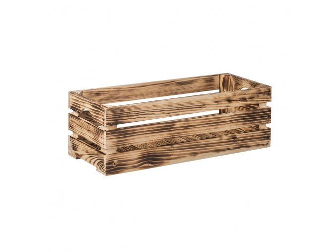 Opálená dřevěná bedýnka 60 x 22 x 20 cm