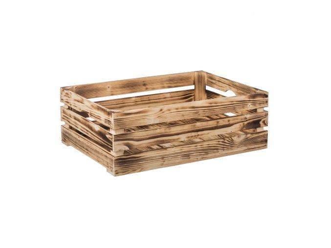 Opálená dřevěná bedýnka 60 x 39 x 20 cm