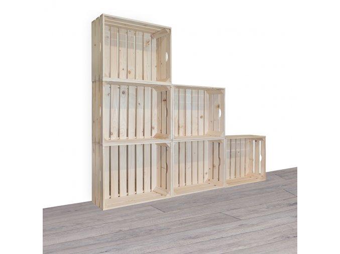 Dřevěné bedýnky knihovna 150x120x20 cm