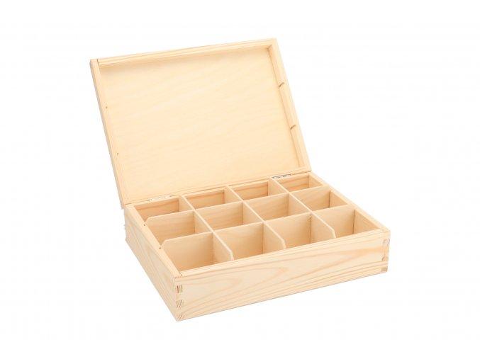 Dřevěná krabička na čaj (12 přihrádek)