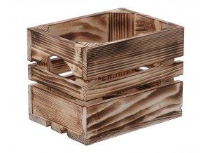 Opálená dřevěná bedýnka 20x15x15 cm