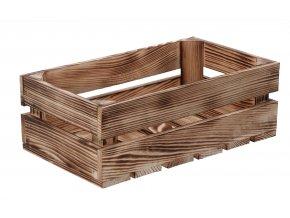 Opálená dřevěná bedýnka 34 x 20 x 12 cm