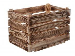 Opálená dřevěná bedýnka 40x26x26 cm