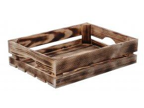 Opálená dřevěná bedýnka 40x30x10 cm