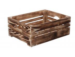 Opálená dřevěná bedýnka 40x30x15 cm