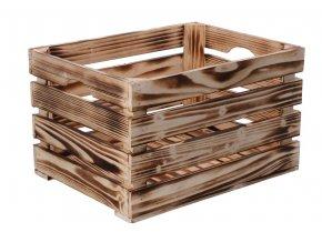 Opálená dřevěná bedýnka 40x30x24 cm
