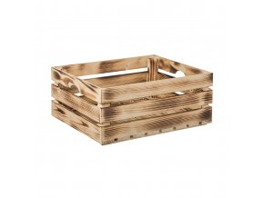 Opálená dřevěná bedýnka 50 x 39 x 20 cm (vhodná na ovoce)