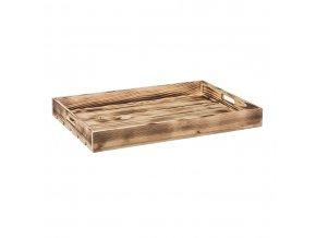Opálená dřevěná bedýnka 56 x 36 x 6 cm
