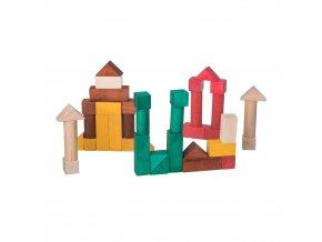 Dřevěné kostky barevné - 40 ks