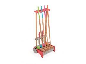 Dřevěný kroket s vozíkem