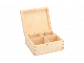Dřevěná krabička na čaj (4 přihrádky)