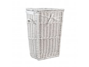 Proutěný koš na prádlo bílý obšitý