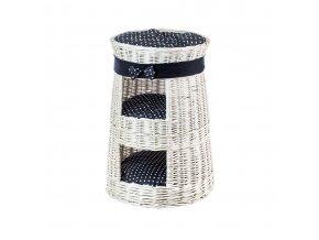 Proutěný pelíšek s boudou dvoupatrový bilý - obšitý