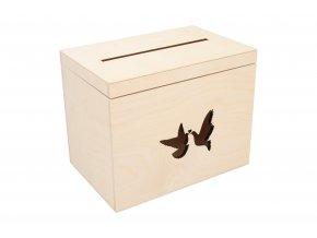 Dřevěný svatební box holubičky