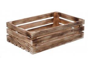 Opálená dřevěná bedýnka 40 x 26 x 12 cm II