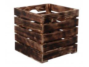 Opálená dřevěná bedýnka 30 x 30 x 30cm