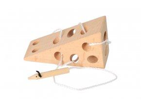 Dřevěná provlékací hra - myš v sýru