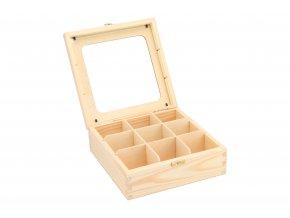 Dřevěná krabička s plexisklem - 9 přihrádek