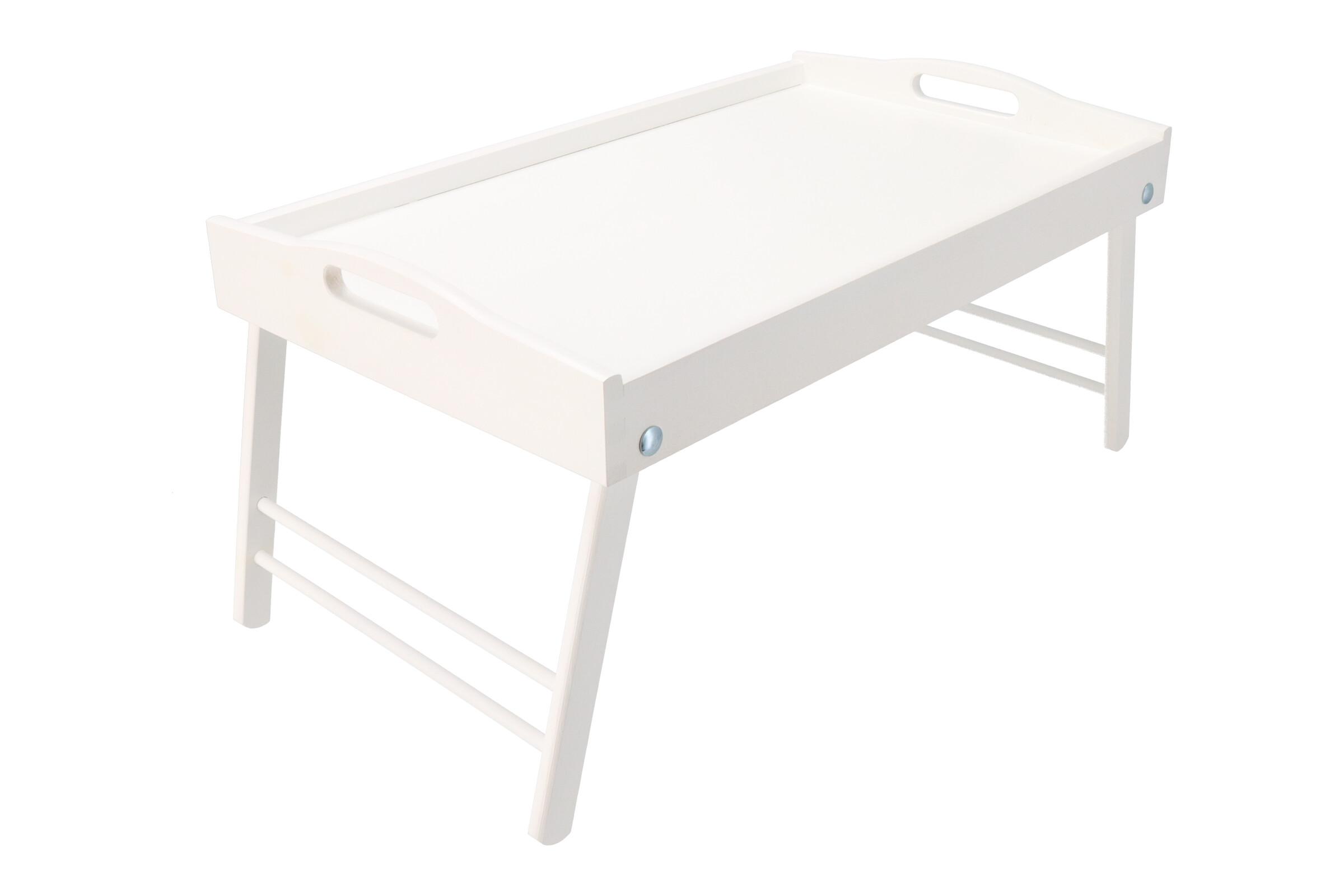 Dřevěný servírovací stolek do postele 50x30 cm bílý