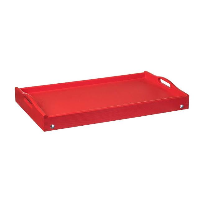 Dřevěný servírovací stolek do postele 50x30 cm červený