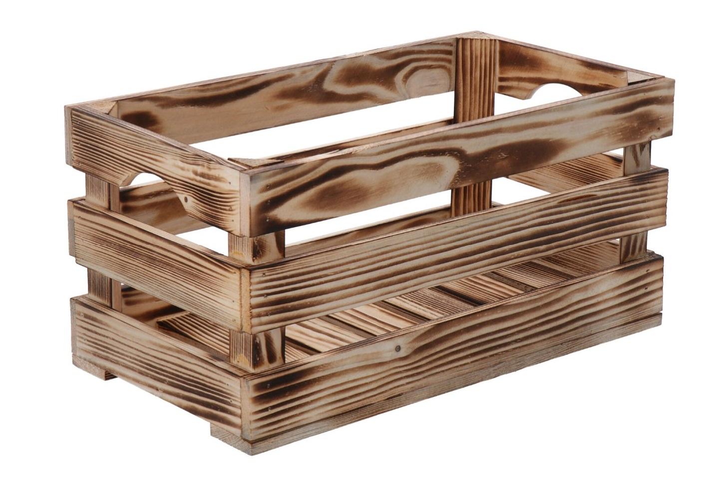Opálená dřevěná bedýnka 40x22x20 cm