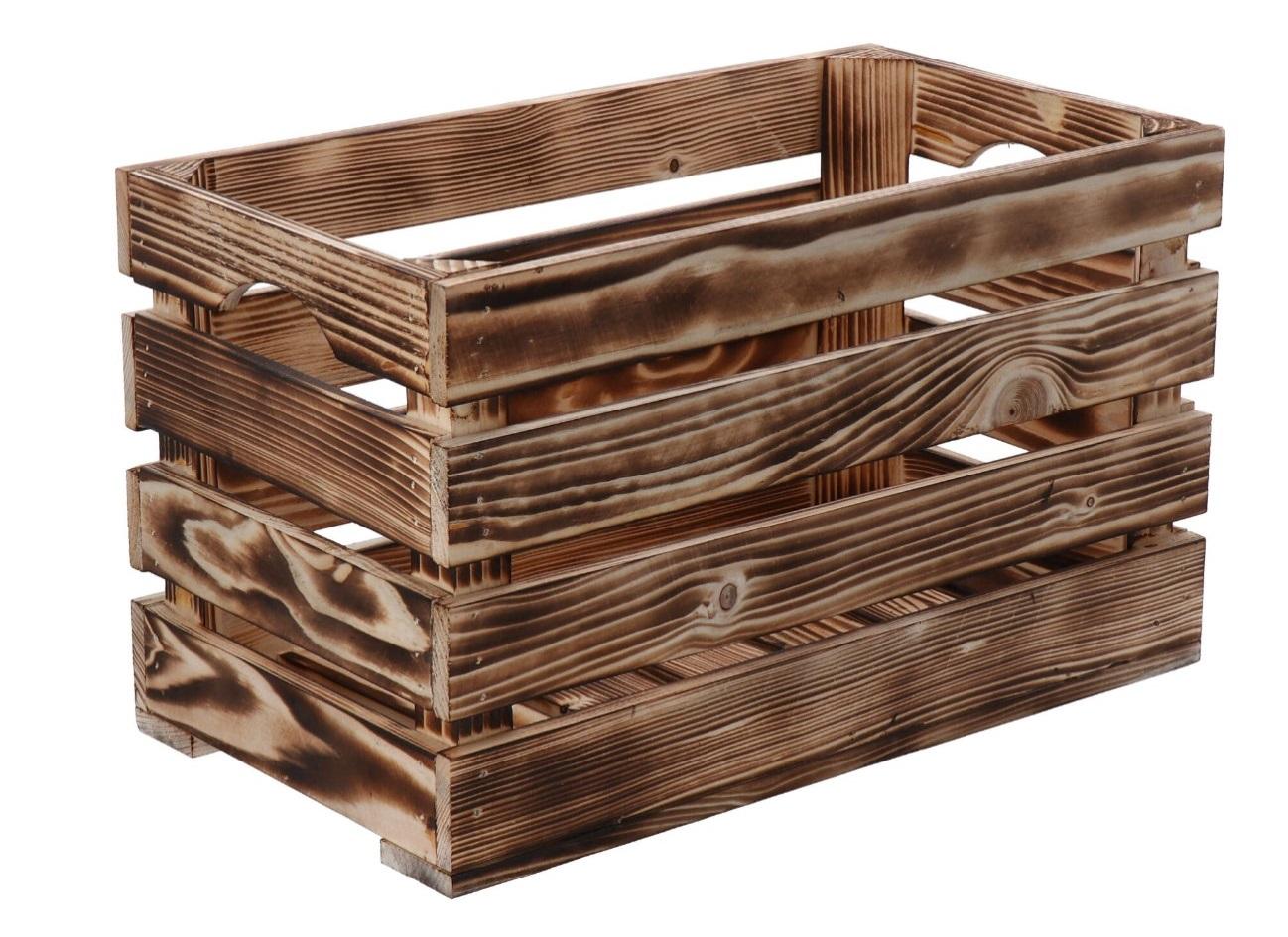 Opálená dřevěná bedýnka 40x22x24 cm