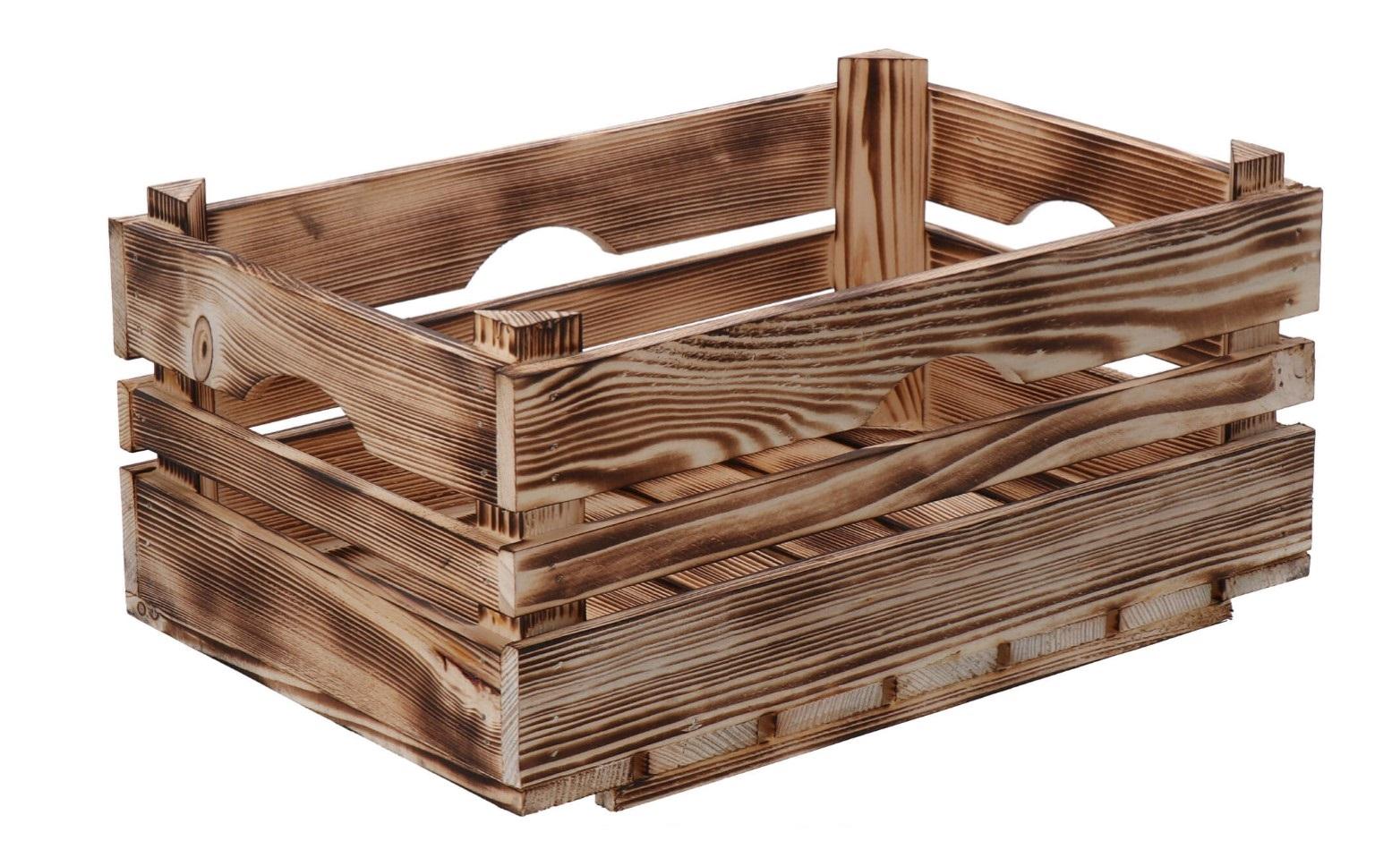 Opálená dřevěná bedýnka 40x26x18 cm