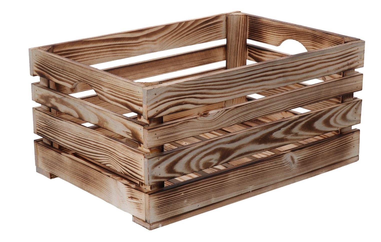 Opálená dřevěná bedýnka 46x32x22 cm