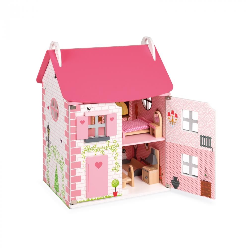 Dřevěný domeček pro panenky - 11 ks nábytku