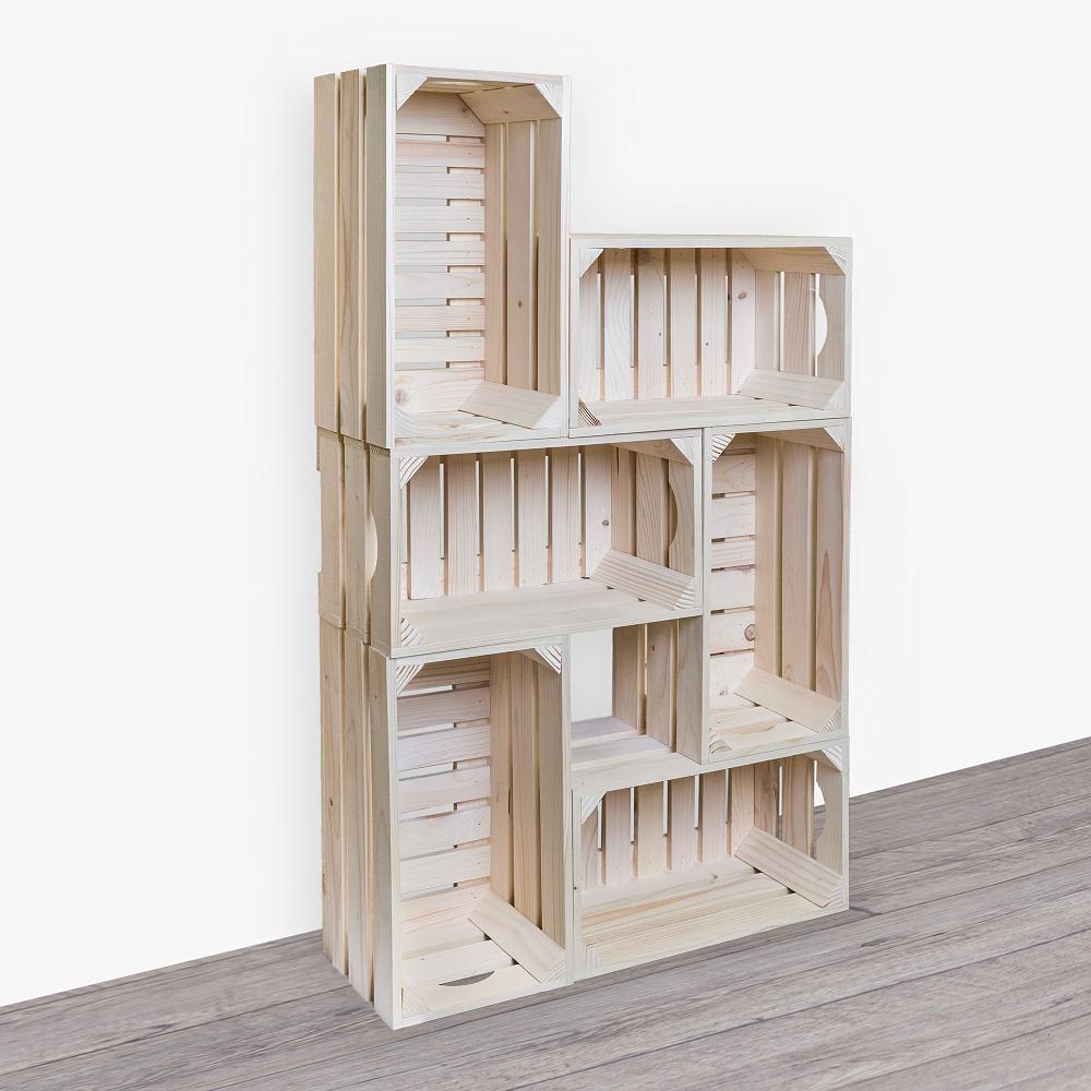 Dřevěné bedýnky knihovna 62X102X20 CM