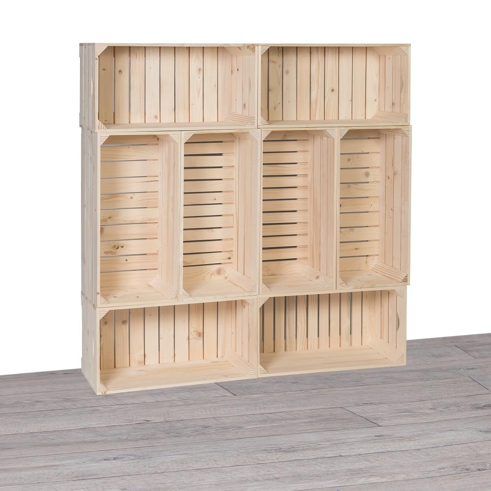 Dřevěné bedýnky knihovna 120x120x24 cm