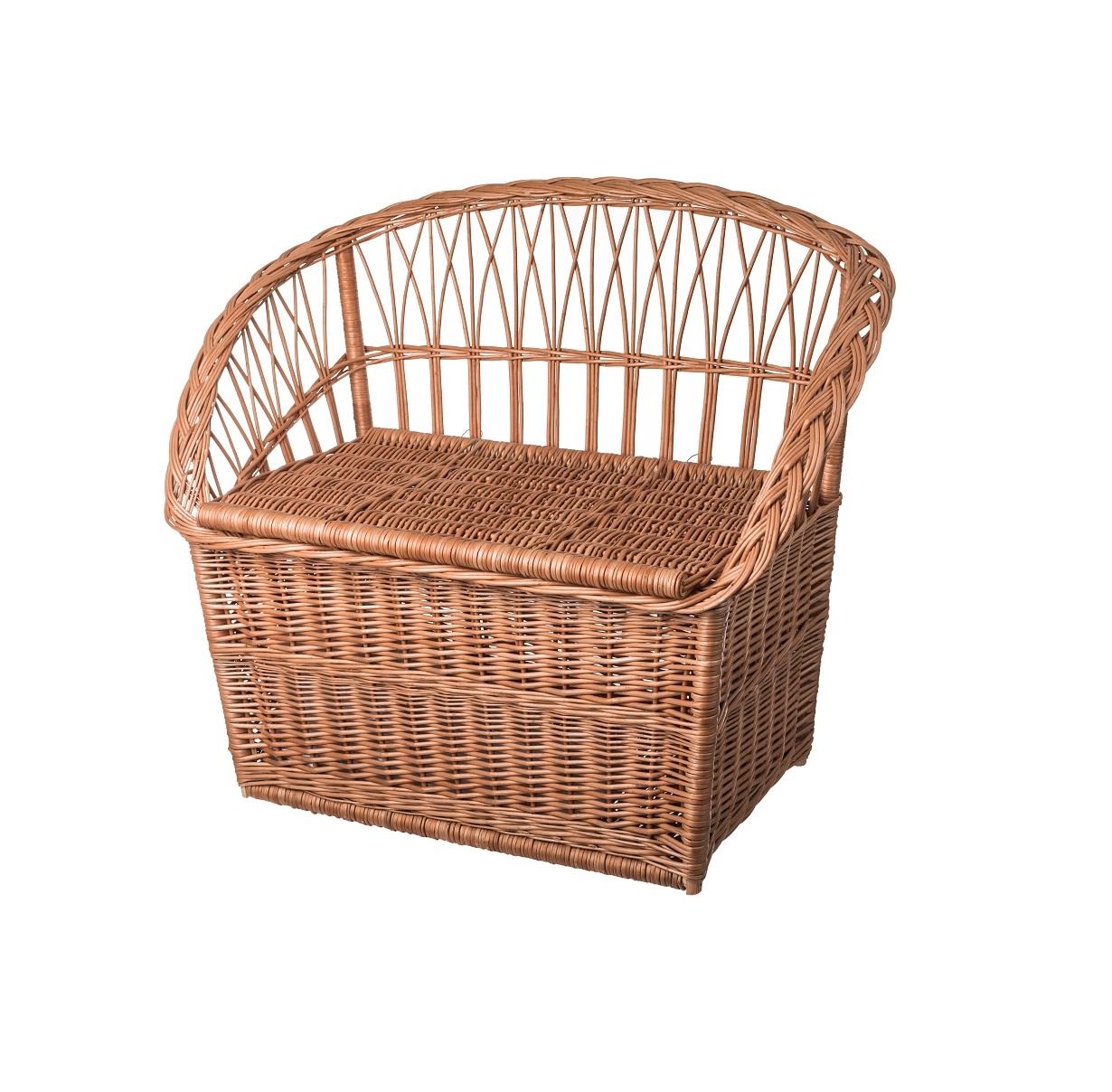 Proutěná lavice s úložným prostorem malá