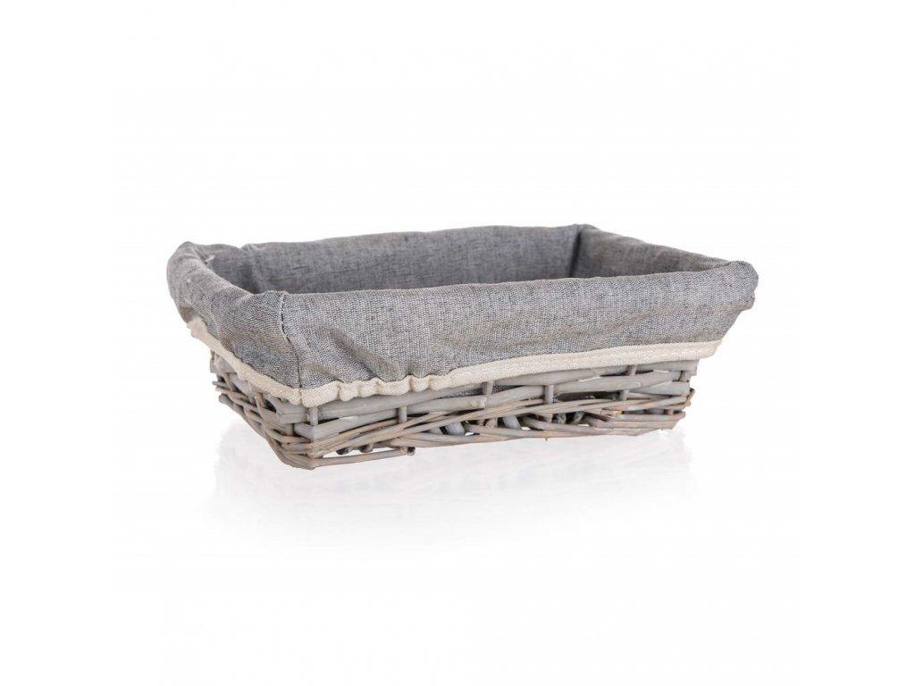 Košík HOME obdĺžnikový šedý - 21 x 16 cm