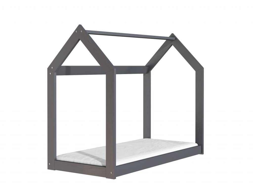 Drevená posteľ domček 160 x 80 cm šedá + rošt
