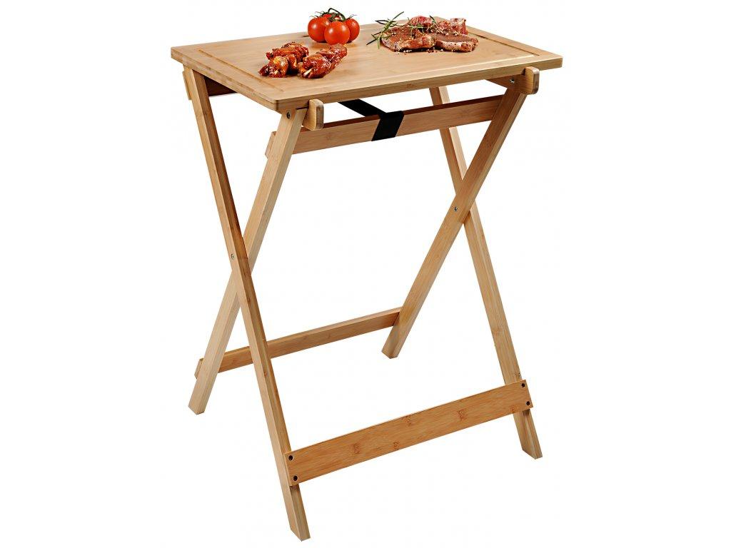 Rozkladací BBQ stolík bambusový - 60 x 40 x 1,5 cm