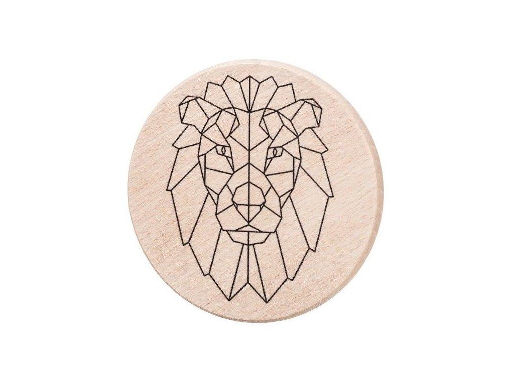 Drevený podtácok - Geometrický lev