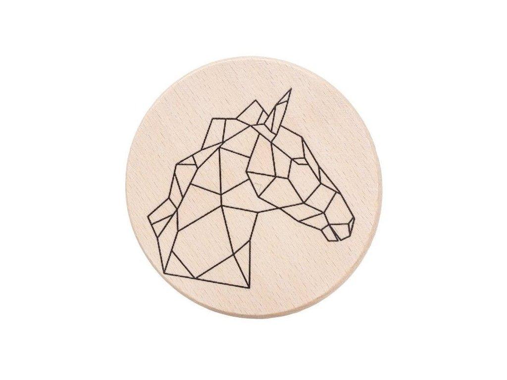 Drevený podtácok - Geometrický kôň