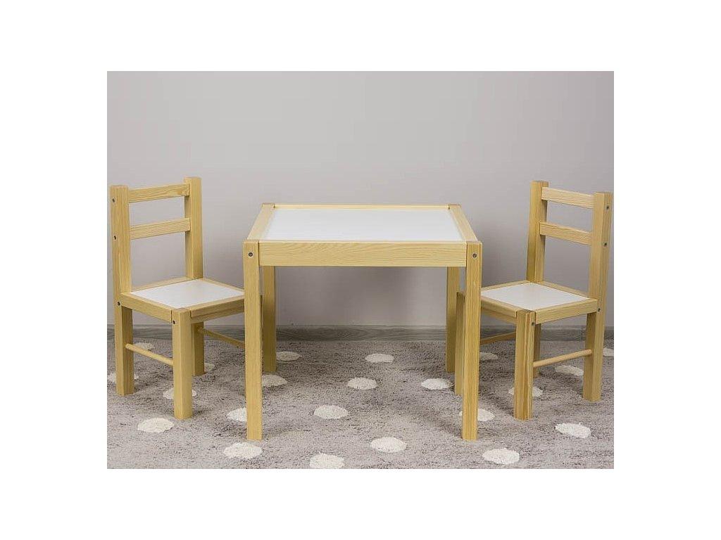 Drevený detský stolček so stoličkami prírodný