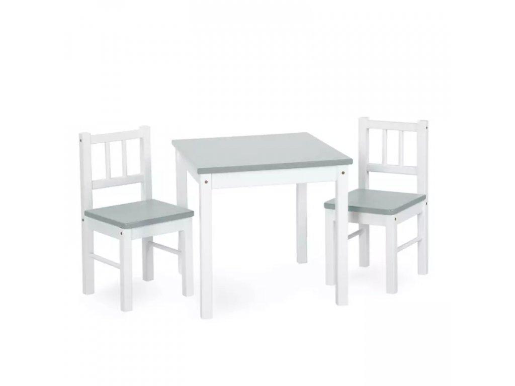 Drevený detský stolček so stoličkami - šedobiely