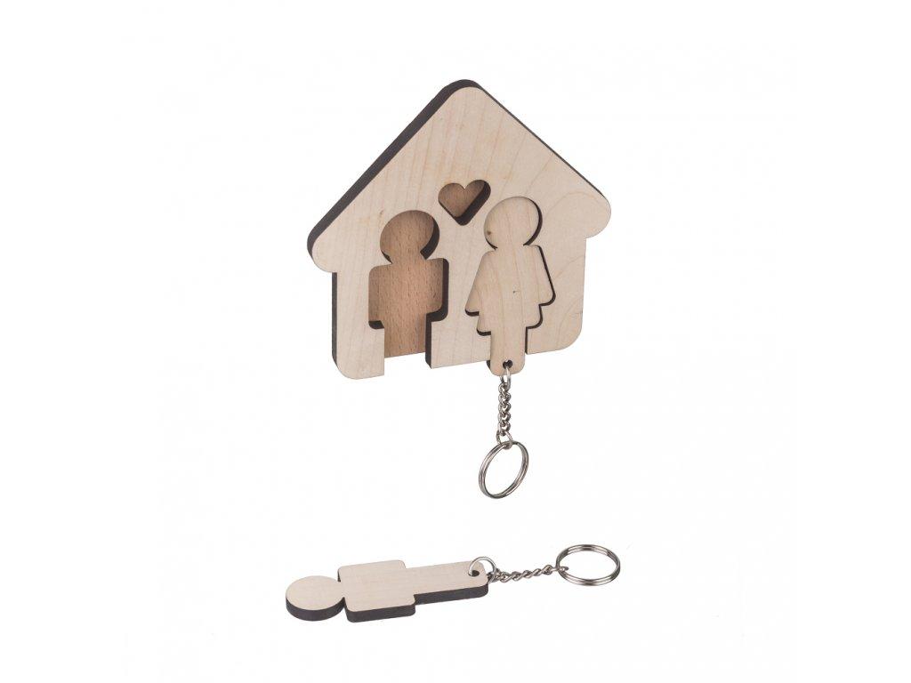 Drevený vešiak na kľúče - pre páry