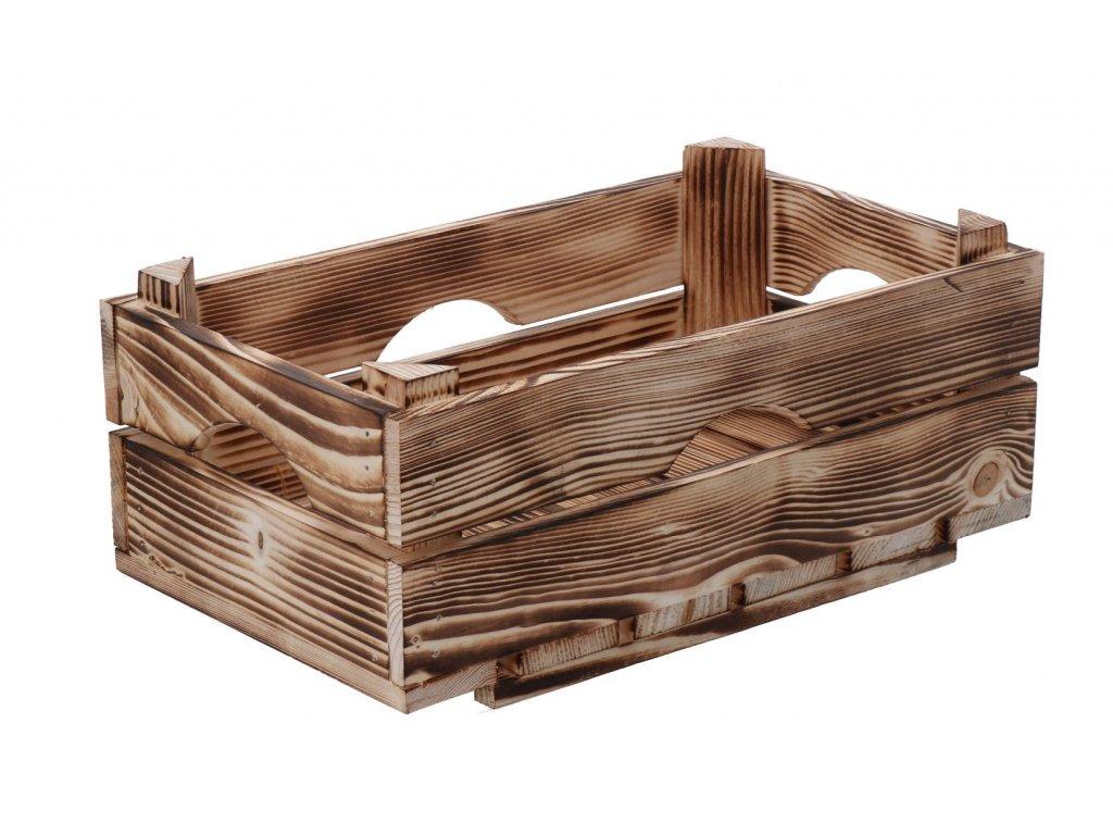 Opálená drevená debnička 34 x 20 x 14 cm