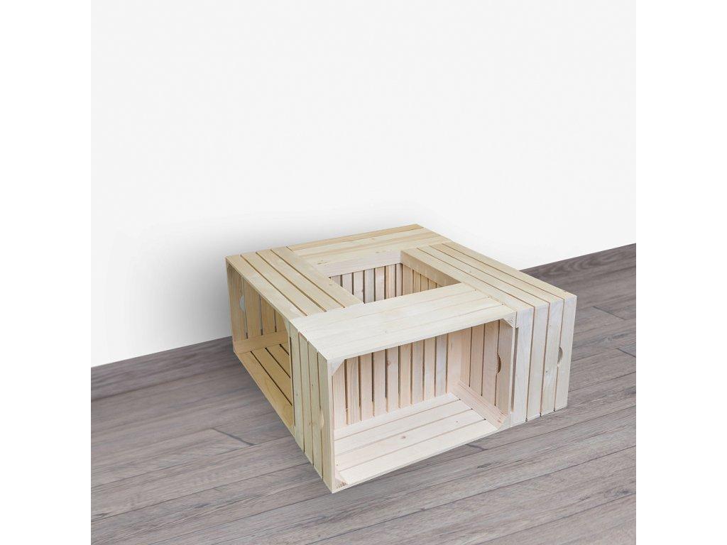Drevené debničky - konferenčný stolík 84x39x84 cm