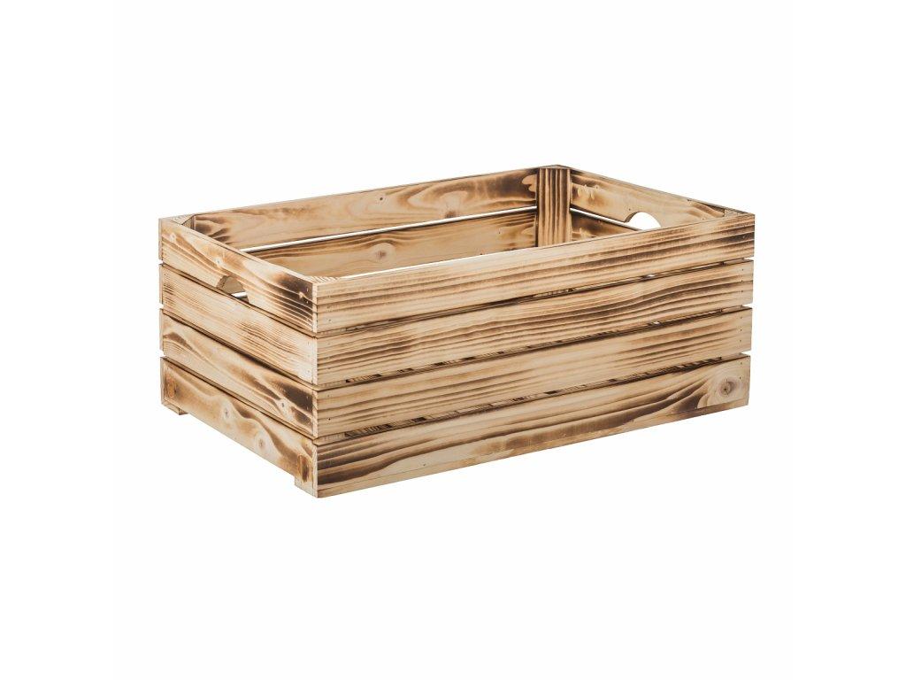 Opálená drevená debnička 60 x 39 x 24 cm